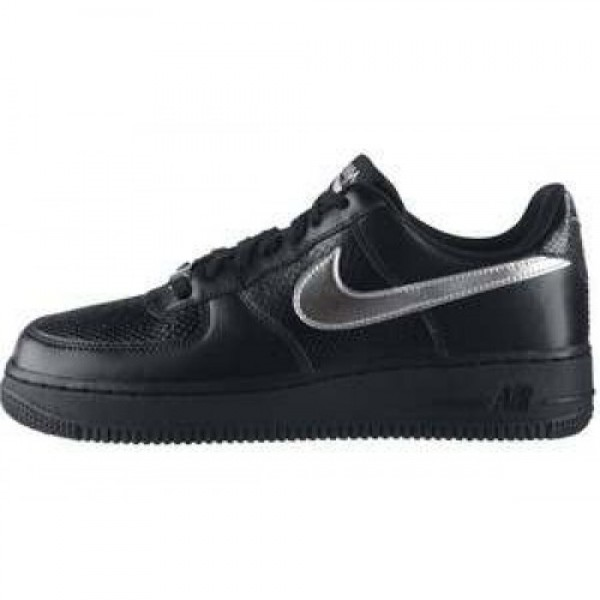 Nike Wmns Air Force 1 '07 LE BLACK/METALLIC SILVER...