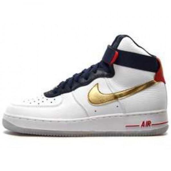 Nike Air Force 1 High '07 LE PRM Olympic WHITE/METALLIC GOLD-MID NAVY ナイキ エア フォース1'07 プレミアム オリンピック ホワイト/メタリックゴールド ミッドネイヴィー 525317-100