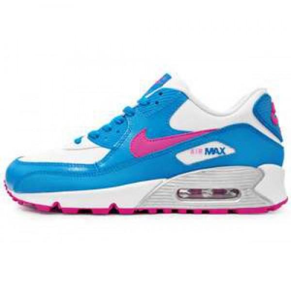 Nike Wmns Air Max 90 2007 (GS) WHITE/FSN PNK-N TRQ...