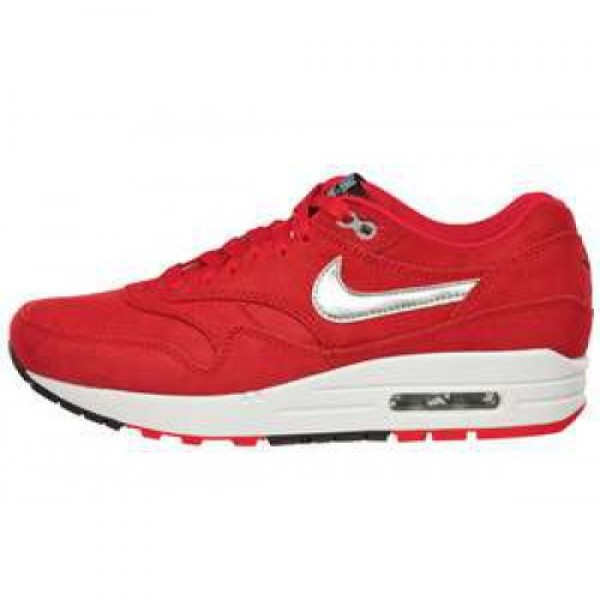 Nike Wmns Air Max 1 PRM HYPER RED/MTLLC SLVR-BLK-W...
