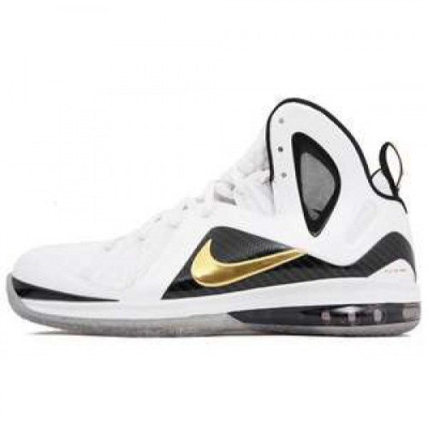 Nike LeBron 9 P.S. Elite WHITE/METALLIC GOLD-BLACK...